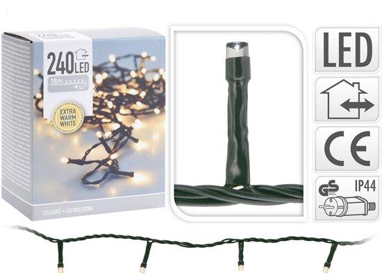 LED kerstverlichting 18 meter – 240 LED lampjes – extra warm wit - voor binnen & buiten