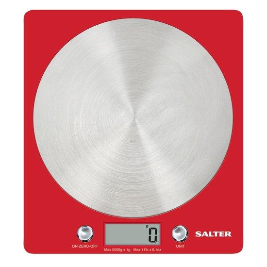 Salter 1046 RDDR Tafelblad Elektronische keukenweegschaal Rood, Roestvrijstaal keukenweegschaal