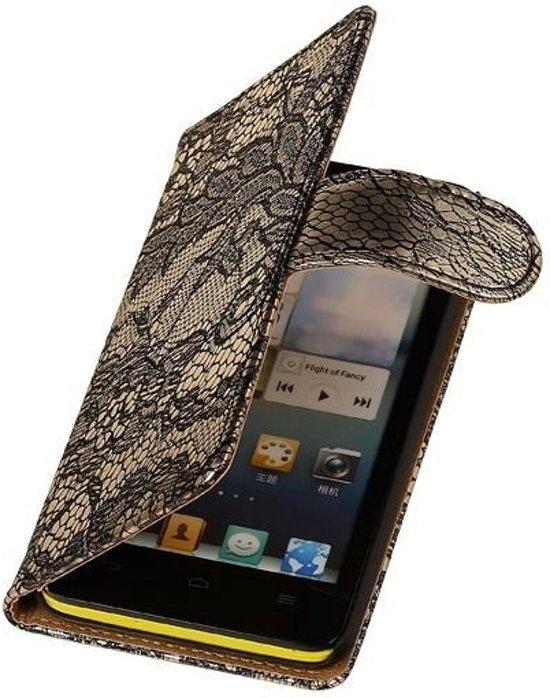 MP Case Zwart Bloem Huawei Ascend G610 Wallet Book Case Hoesje in Ensival