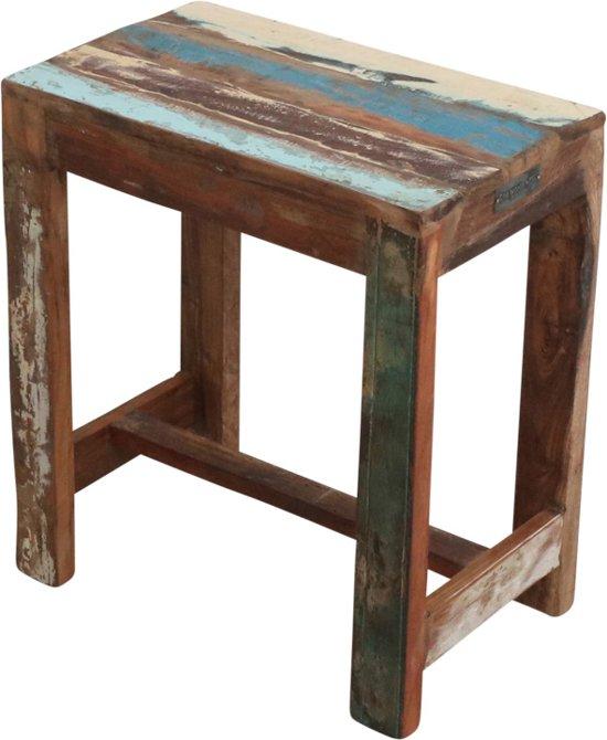 One World Interiors Scrapwood Bijzettafeltje – Krukje – 40x25cm– Gerecycled hout
