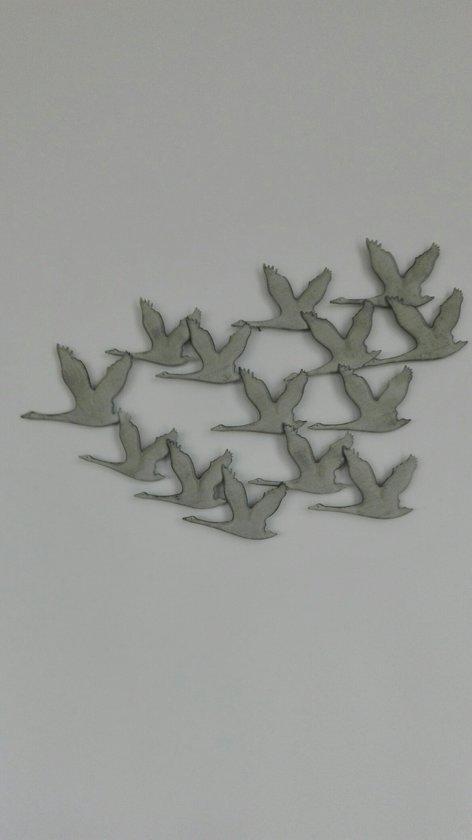 Muurdecoratie Buiten Metaal.Bol Com Metalen Ganzen Wanddecoratie Grijs 90 X 52 Cm