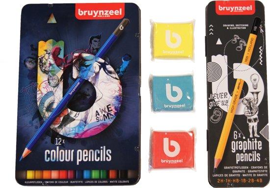 Bruynzeel Teens pakket kleurpotloden, kneedgummen en grafietpotloden