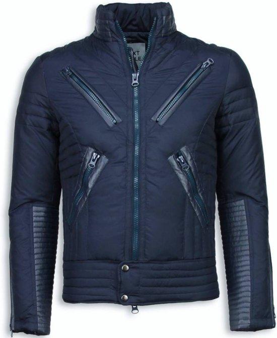 Next Style Winterjassen - Heren Winterjas Kort - Motor Jack - Duck Down - Blauw - S