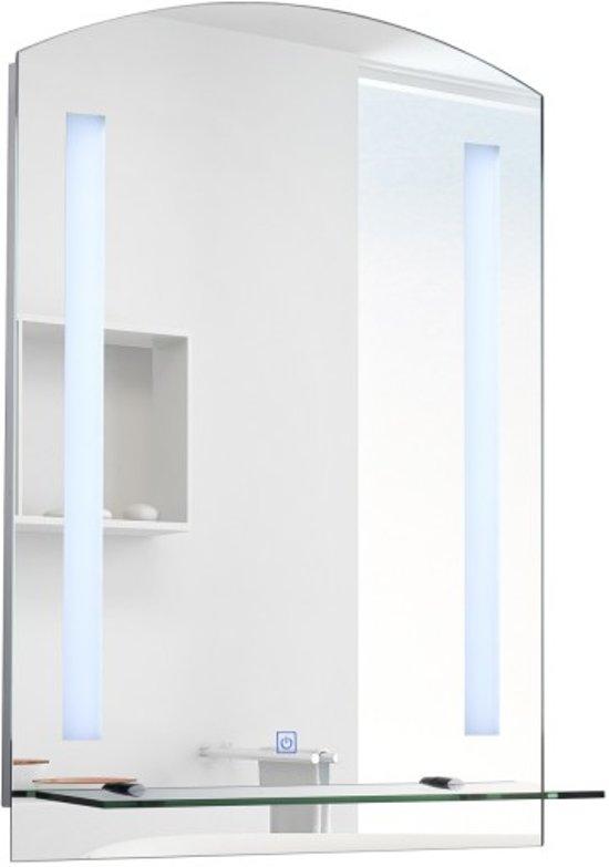 Wandplank Met Led Verlichting.Luxe Badkamer Spiegel Met Led Verlichting Badkamer Wandspiegel Met Opleg Plank Verlichte Badkamerspiegel Touch Sensor 50x70 Cm Groot