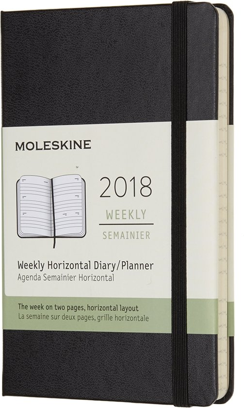 Moleskine - Pocket - 12 Months Weekly Horizontal 2018 - Black - Hard Cover