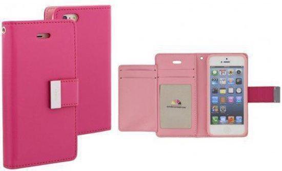iPhone 5/5S Mercury Rich Diary case cover hoesje  donker roze/licht roze