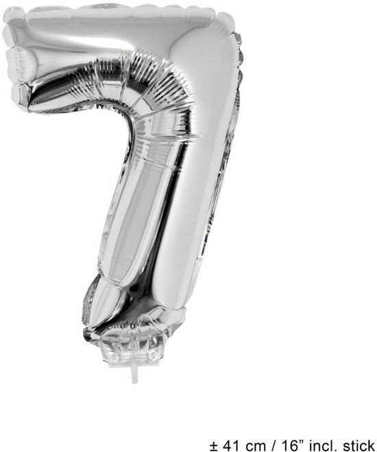 Helium Ballon Nummer 7 - Zilver - 41 Cm