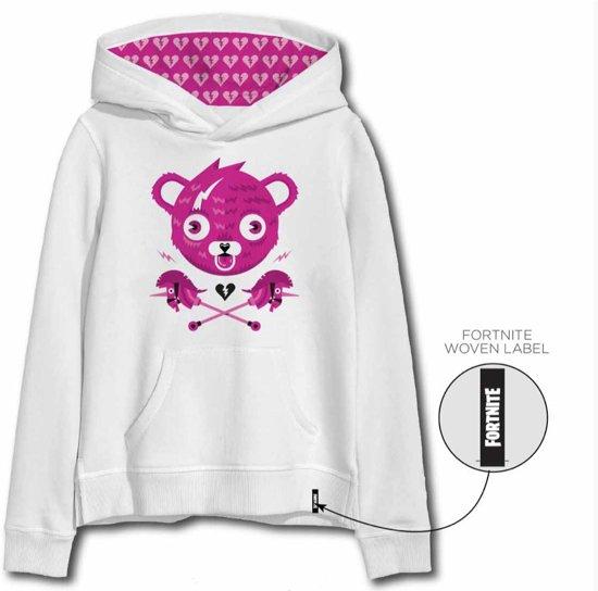Fortnite sweater - hoodie - wit - roos - maat 152 cm / 12 jaar