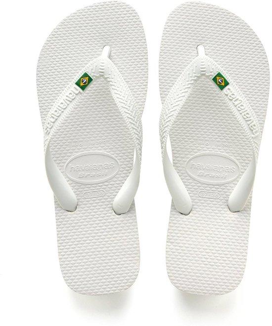 Havaianas Havaianas Brasil White Slippers Unisex Slippers White Unisex Brasil Havaianas wxx1UXq4F