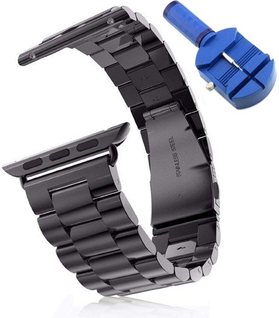 Metalen Armband Voor Apple Watch Series 4 44 MM Horloge Band Strap - iWatch Schakel Polsband RVS - Zwart