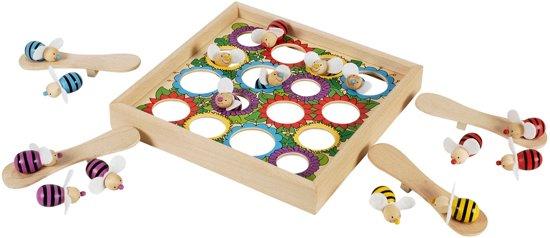 Afbeelding van het spel SPRINGENDE BIJEN 22x22cm, 16 bijen en 4 springplanken, in ho