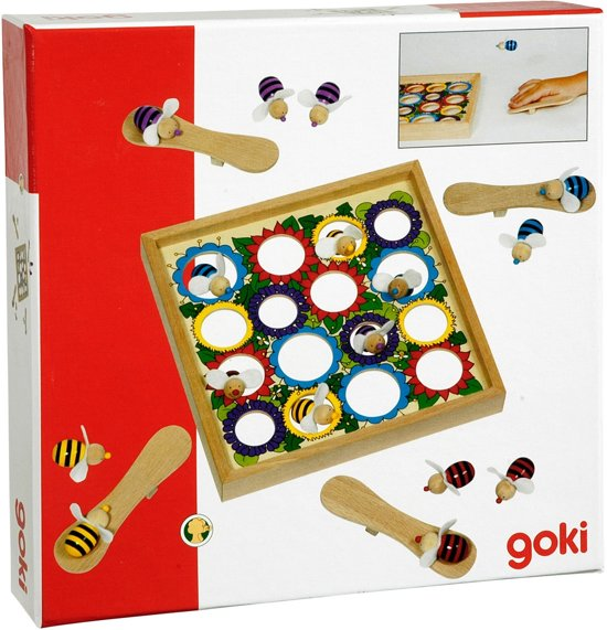 Thumbnail van een extra afbeelding van het spel SPRINGENDE BIJEN 22x22cm, 16 bijen en 4 springplanken, in ho