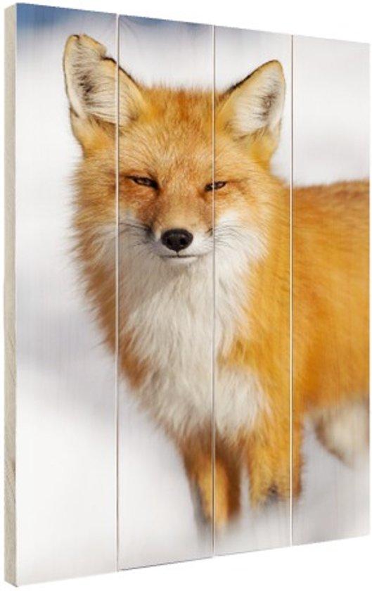 Rode vos close-up Hout 40x60 cm - Foto print op Hout (Wanddecoratie)