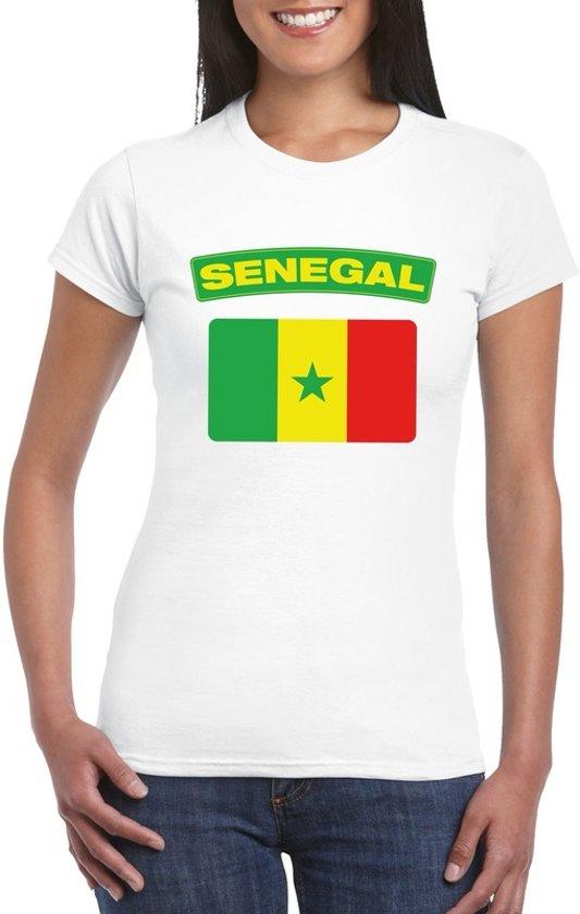 T-shirt met Senegalese vlag wit dames L