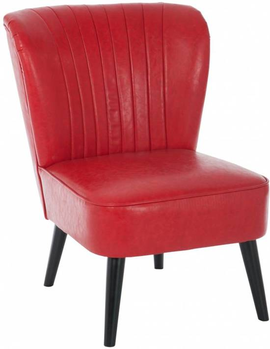 Fauteuil Rood Leer.Bol Com Duverger Retro Candy Fauteuil Rood Pu Leer