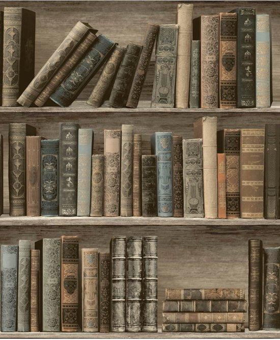 Home Boekenkast Bruin Behang Vliesbehang Bruin