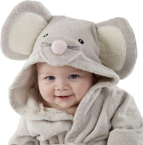 Badjas Voor Baby - Schattige Muis - Baby Badjas Met Leuke Capuchon - Vanaf 12 Maanden Oud