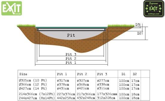 EXIT Supreme Ground Level Trampoline 214 x 366 cm
