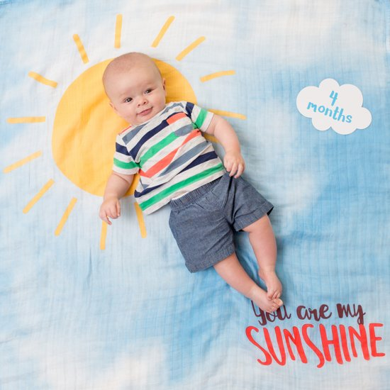 Lulujo Baby's First Year swaddle & cards - You Are My Sunshine