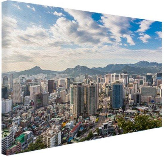 Skyline Seoul Canvas 180x120 cm - Foto print op Canvas schilderij (Wanddecoratie woonkamer / slaapkamer) / Steden Canvas Schilderijen XXL / Groot formaat!