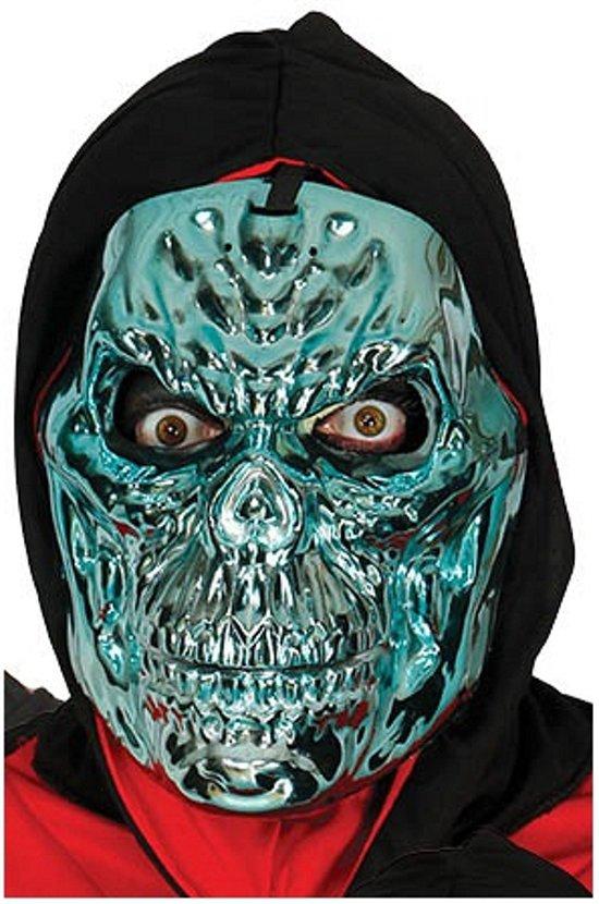 Halloween - Blauw metallic skelet masker