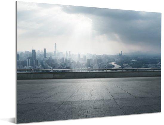 Dreigende wolken boven Shenzhen Aluminium 80x60 cm - Foto print op Aluminium (metaal wanddecoratie)