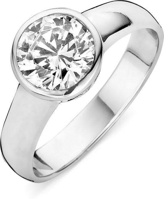 Silventi 943282829 54 Zilveren dames ring - bezel zirkonia 9 mm - maat 54 - zilverkleurig
