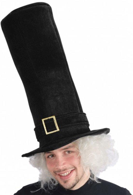 Zwarte mega hoge hoed fluweel