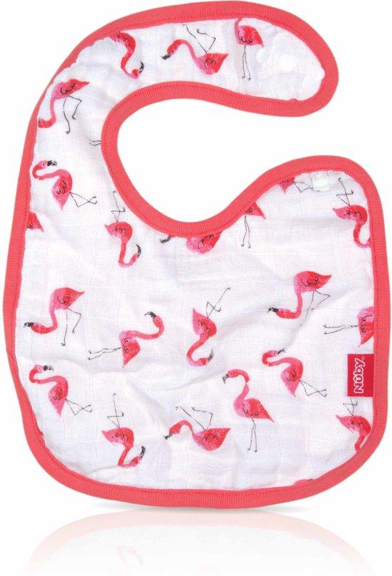 Nûby - Katoenen slabbetje met schoudersluiting - Roze - Flamingo - 0m+