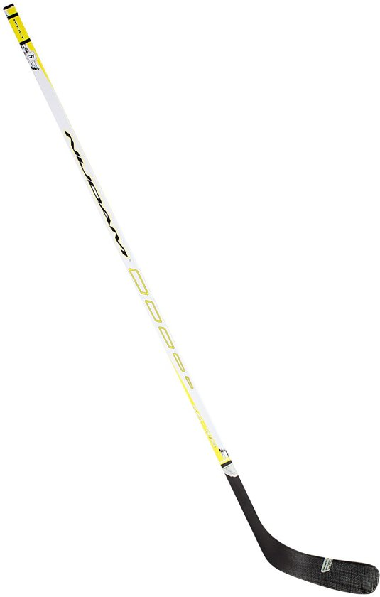 Nijdam IJshockeystick Hout/Glasfiber Sr - 155 cm - Wit/Fluorgeel/Antraciet - Rechts