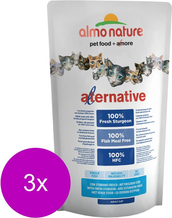 Almo Nature Hfc Cat Brokjes Alternative 750 g - Kattenvoer - 3 x Steur&Rijst