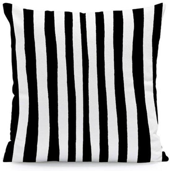 Kussenhoes Stripes Zwart Wit| Kussen 45 x 45 cm met Rits