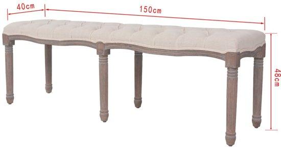 vidaXL Bank 150x40x48 cm linnen massief hout crèmewit