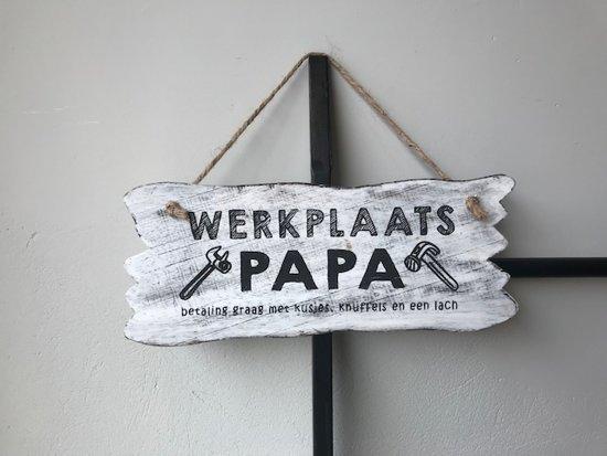 Tekstbord Hout Werkplaats Papa White Vaderdag Kado Cadeau