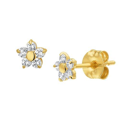 The Jewelry Collection Oorknoppen Bloem En Zirkonia - Geelgoud