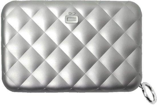 Ögon Designs Quilted Zipper Dames Creditcardhouder met Rits - RFID - Zilver