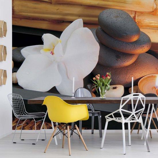 Fotobehang Spa Pebbles And Flowers | VEXXXXL - 416cm x 290cm | 130gr/m2 Vlies