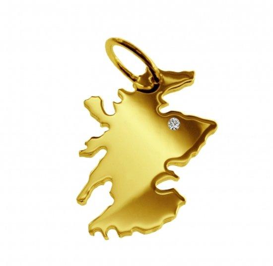 Gouden hanger land Schotland met briljant
