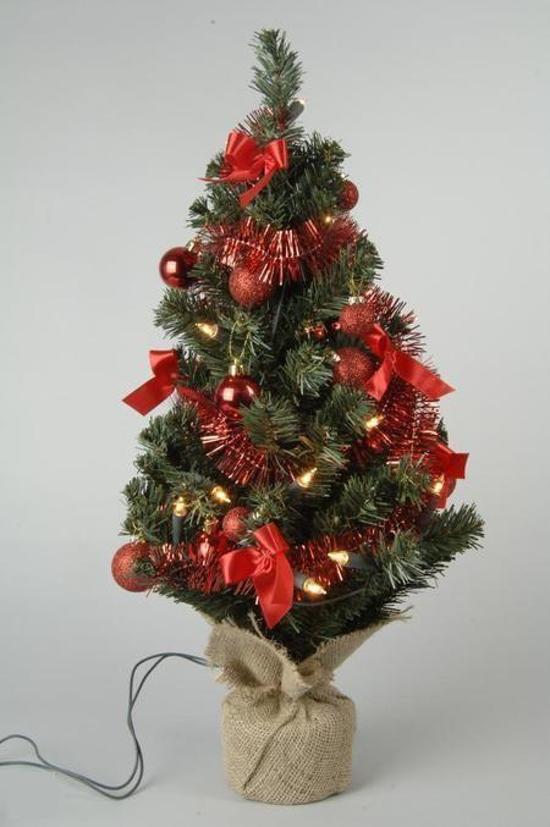 bol.com | Kleine kunst kerstboom met verlichting en versiering - 60 ...