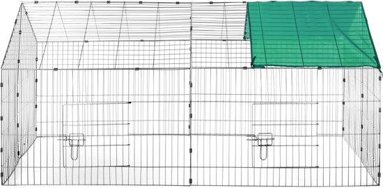 TecTake -  Konijnenren met zonnescherm groen - 402420