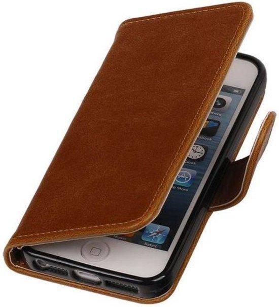 MP Case Bruin vintage lederlook bookcase voor de Apple iPhone 5 5S SE wallet hoesje flip cover Apple iPhone 5 5S SE telefoonhoesje - smartphone hoesje - beschermhoes
