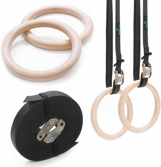 #DoYourFitness® - gymnastiek ringen / houten gymnastiek ringen - extra brede en verstelbare nylon riemen - ideale sportschoolringen - Gymrings