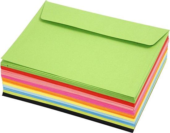 Gekleurde enveloppen, C6 11,5x16 cm, 100 assorti