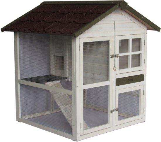 Wonderbaar bol.com | Konijnenhok Cottage White Wash - 105 x 105 x 110 cm - Bruin HN-53