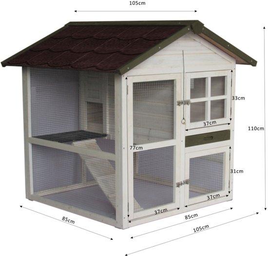Konijnenhok Cottage White Wash - 105 x 105 x 110 cm - Bruin
