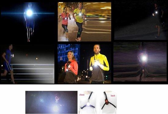 Hardloopverlichting, krachtige LED Lamp voor hardlopen, Run Light borstlamp en ruglamp 250 lumen, oplaadbaar, veilig voor in het donker, ook zonder straatverlichting zelf de weg goed zien! Alternatief voor hoofdlamp