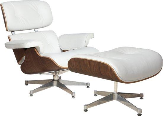 Leren Lounge Fauteuil.Lederen Design Lounge Chair Fauteuil Met Ottoman In Walnoot En Wit Leder