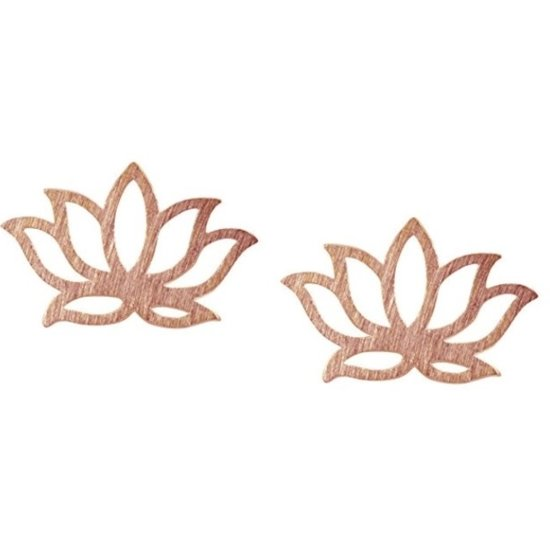 Rhylane® Oorbellen minimalistisch - lotus -  bloem oorknopjes - kleur roségoudkleurig – 1 x 0,7 cm