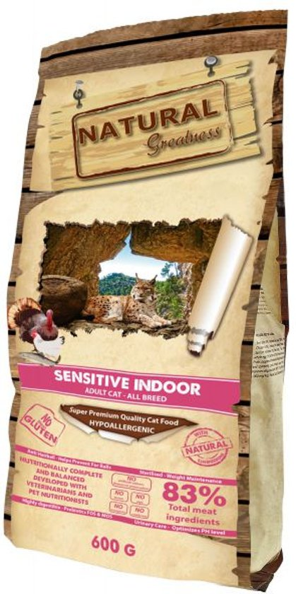 Natural greatness sensitive indoor kattenvoer 600 gr