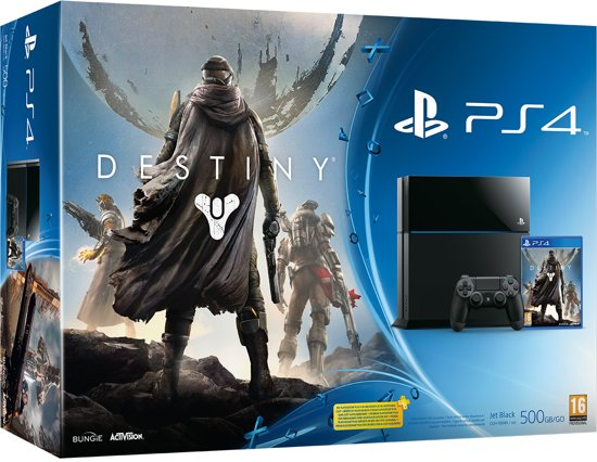 Sony PlayStation 4 Console 500GB + 1 Wireless Dualshock 4 Controller + Destiny - Vanguard Edition - Zwart PS4 Bundel